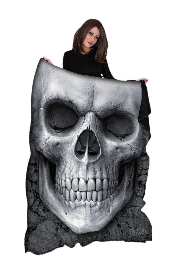 Solemn Skull - Fleece Blanket-Spiral-Dark Fashion Clothing