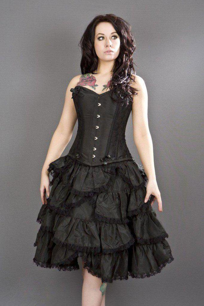 Sophia Knee Length Burlesque Skirt In Taffeta-Burleska-Dark Fashion Clothing