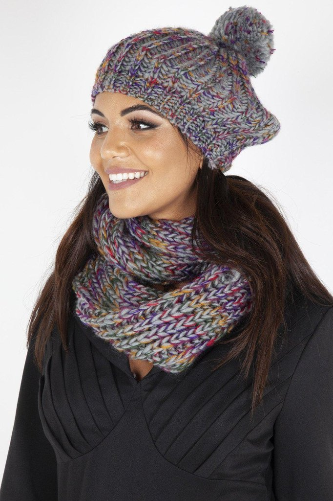 Speckled Grey Beret and Scarf Set-Voodoo Vixen-Dark Fashion Clothing