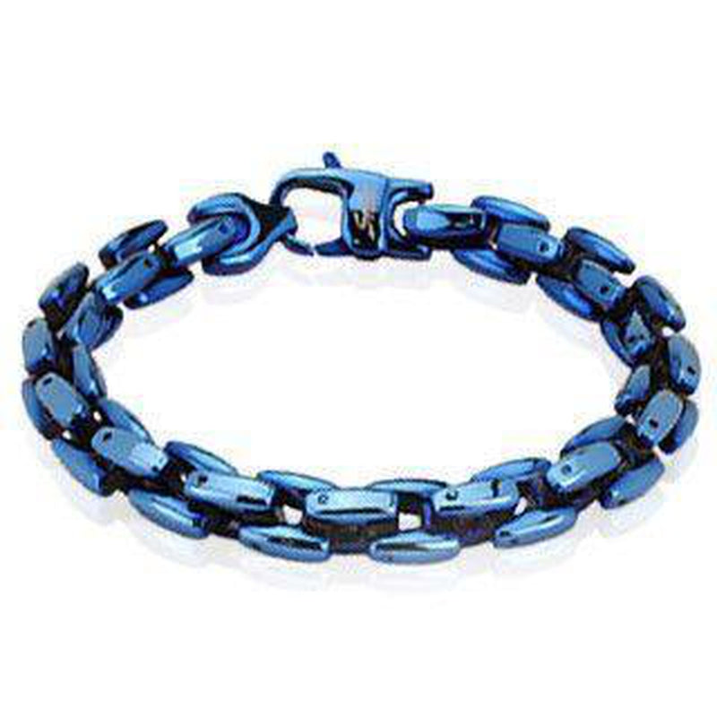Stainless Steel Mens Bracelet With Blue Ion Plating-Spikes-Dark Fashion Clothing