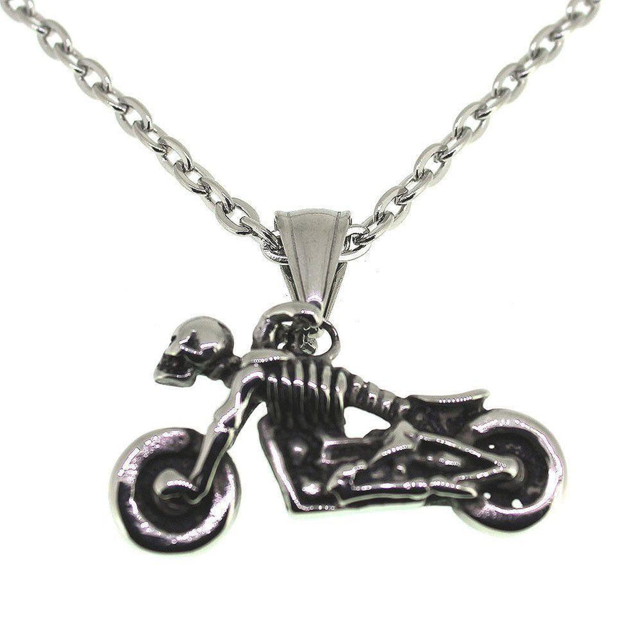 Stainless Steel Skeleton on Motorbike Pendant
