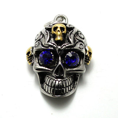 Stainless Steel Skull Pendant - Blue CZ Eyes-Badboy-Dark Fashion Clothing