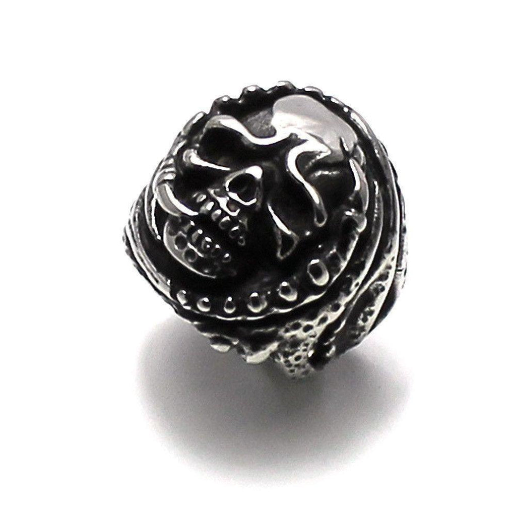 Steel Skull Ring With Claws-Badboy-Dark Fashion Clothing