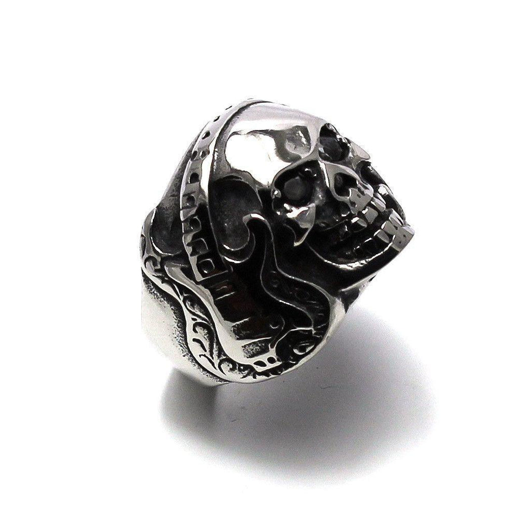 Steel Skull Ring With Guitar-Badboy-Dark Fashion Clothing