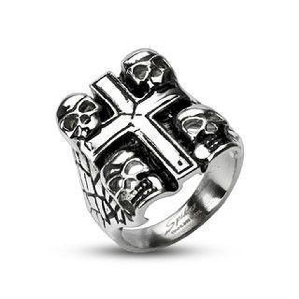 Steel Skulls Cross Ring-Spikes-Dark Fashion Clothing
