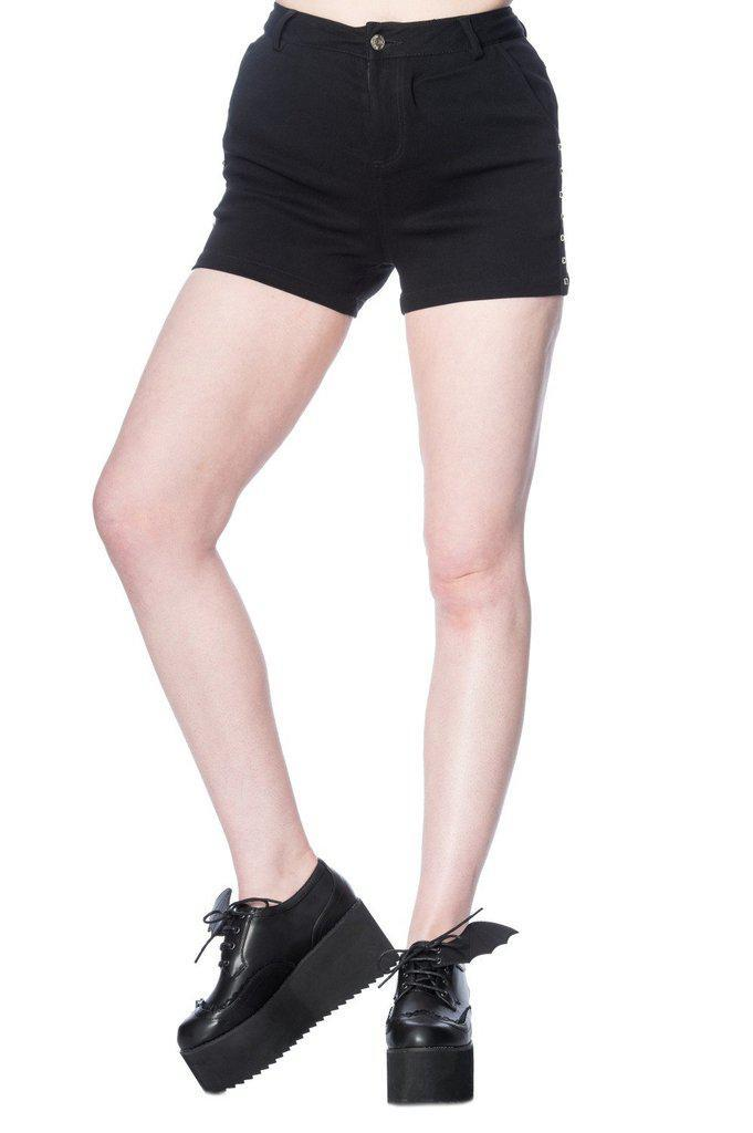 Shorts Banned Bell Tower Bat Shorts Black Alternative Fashion