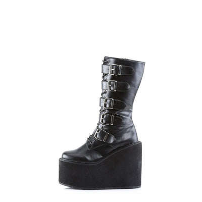 Swing 220 Buckle Platform Boot Patent or PU-Demonia-Dark Fashion Clothing