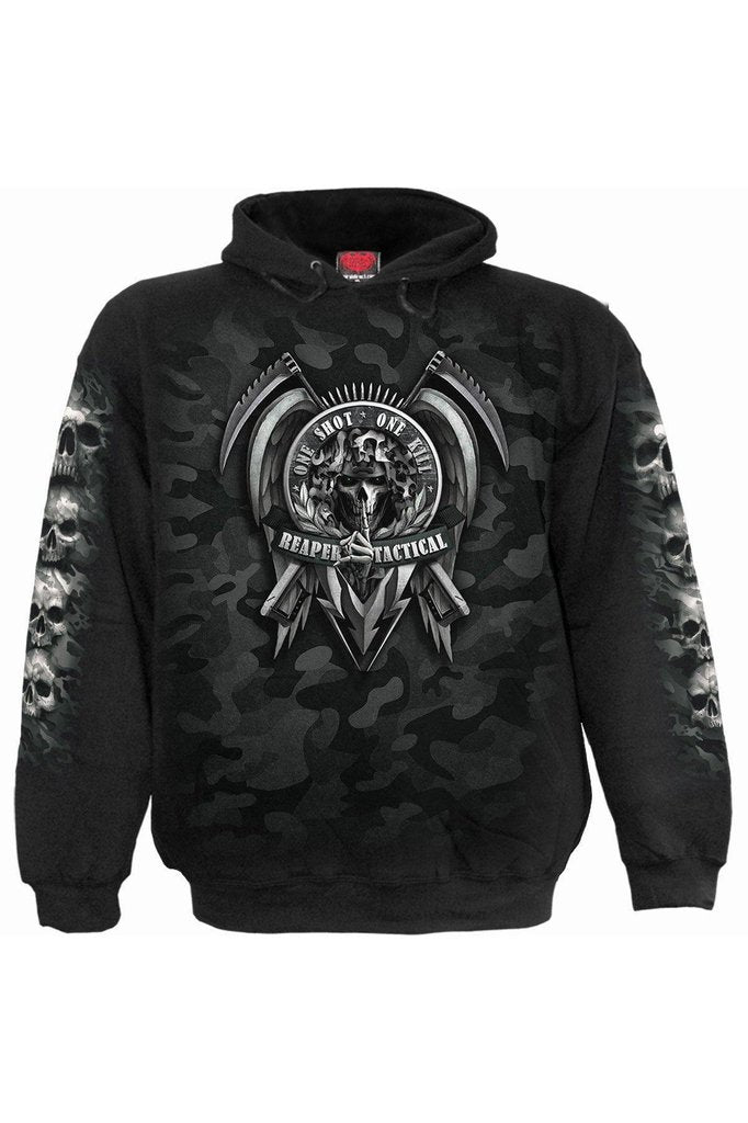 Tactical Reaper - Hoody Black-Spiral-Dark Fashion Clothing