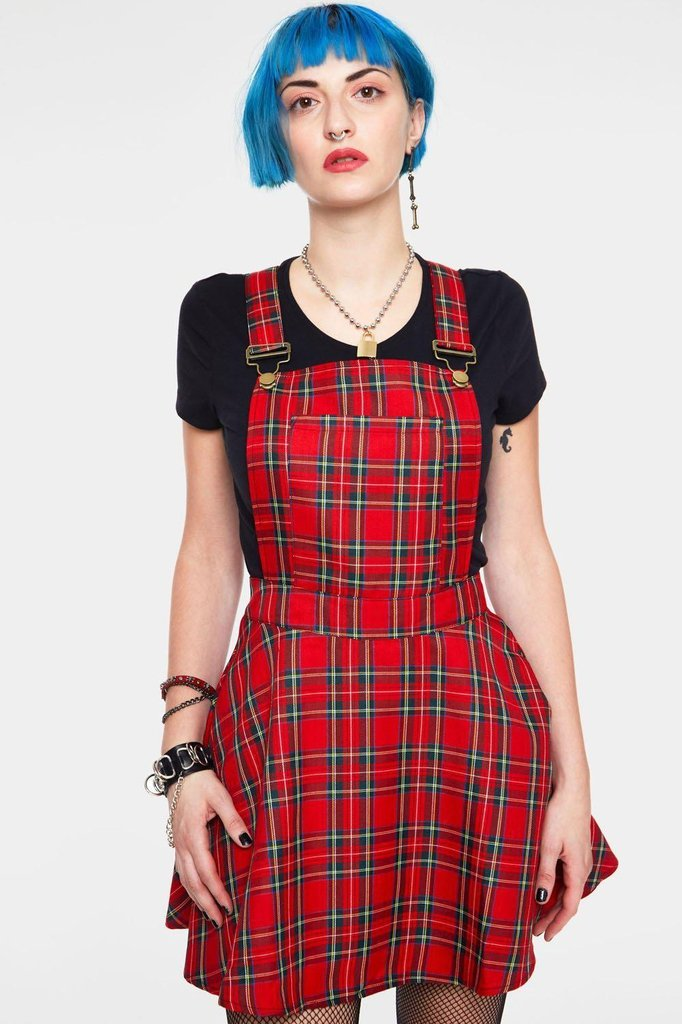 Tartan Paint Plaid Overalls-Jawbreaker-Dark Fashion Clothing
