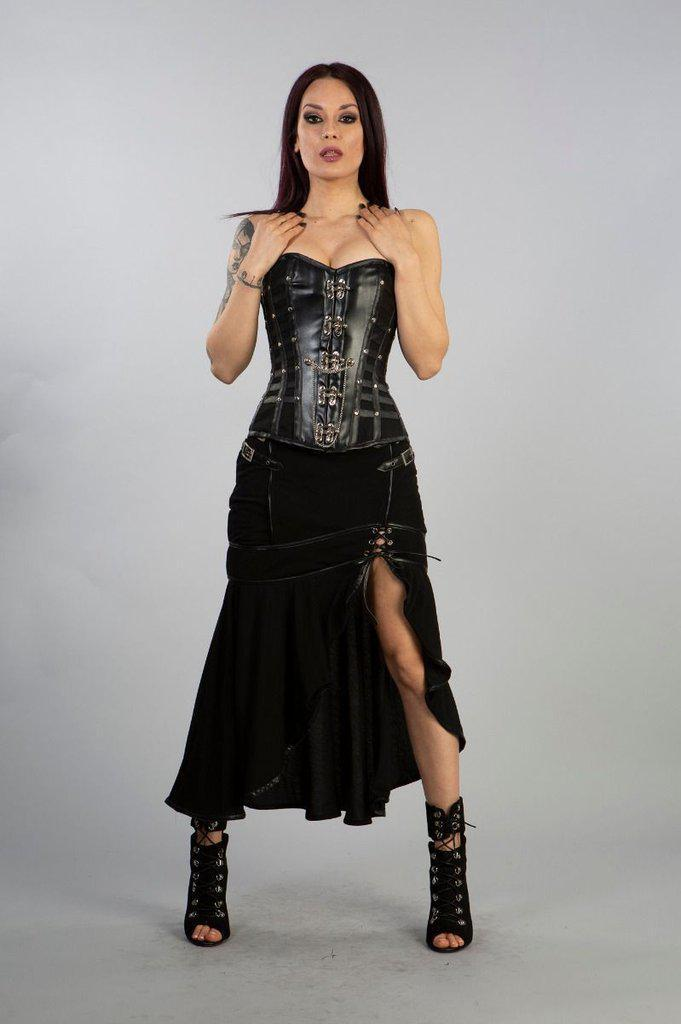 Temptress Long Skirt In Black Hosiery Cotton Mesh-Burleska-Dark Fashion Clothing