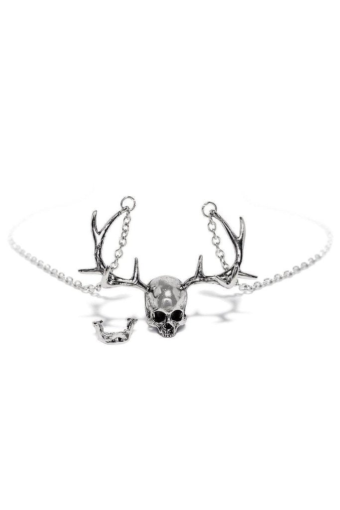 The Stag Silver Skull Antlers Pendant and Necklace - Karsyn-Dr Faust-Dark Fashion Clothing