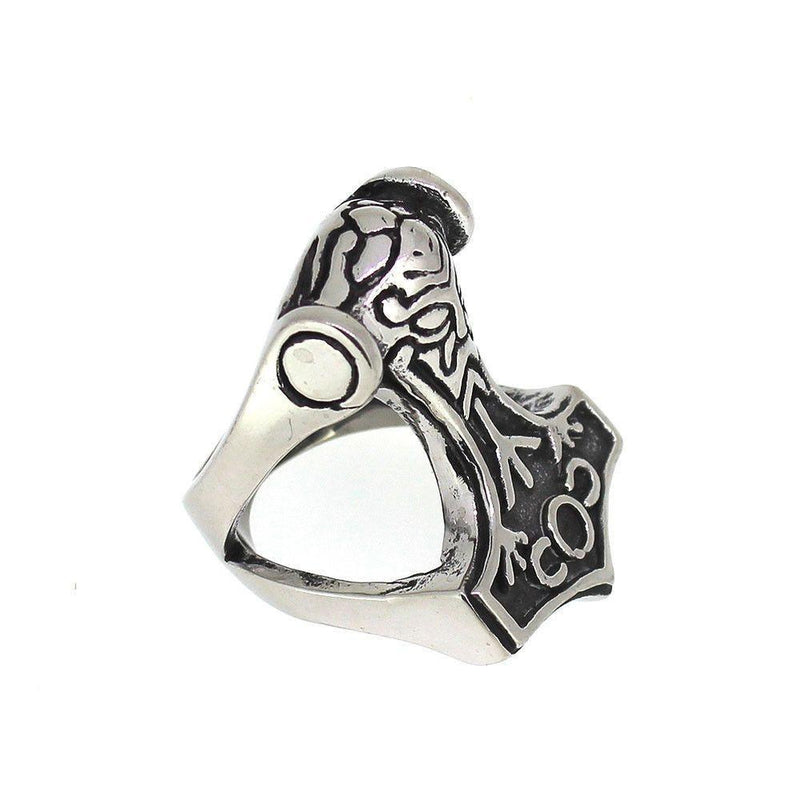 Thor's Hammer Ring - Stainless Steel-Badboy-Dark Fashion Clothing