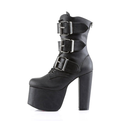 Three Buckle Gothic Platform Boot - Torment 703 Black PU-Demonia-Dark Fashion Clothing