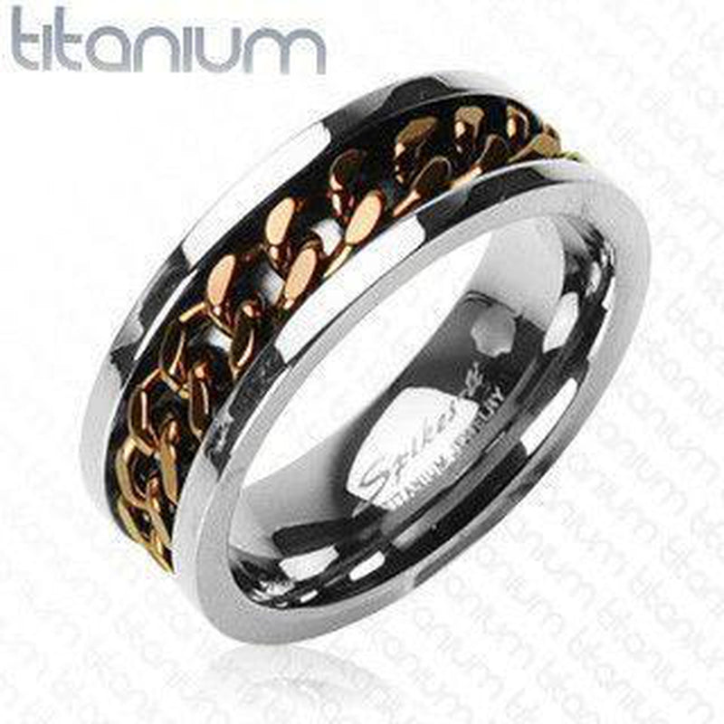 Titanium Ring With Rotating Knotwork - Coffee Colour IP Plating-Spikes-Dark Fashion Clothing