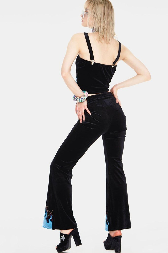 Too Hot To Handle Flame Flared Trousers-Jawbreaker-Dark Fashion Clothing