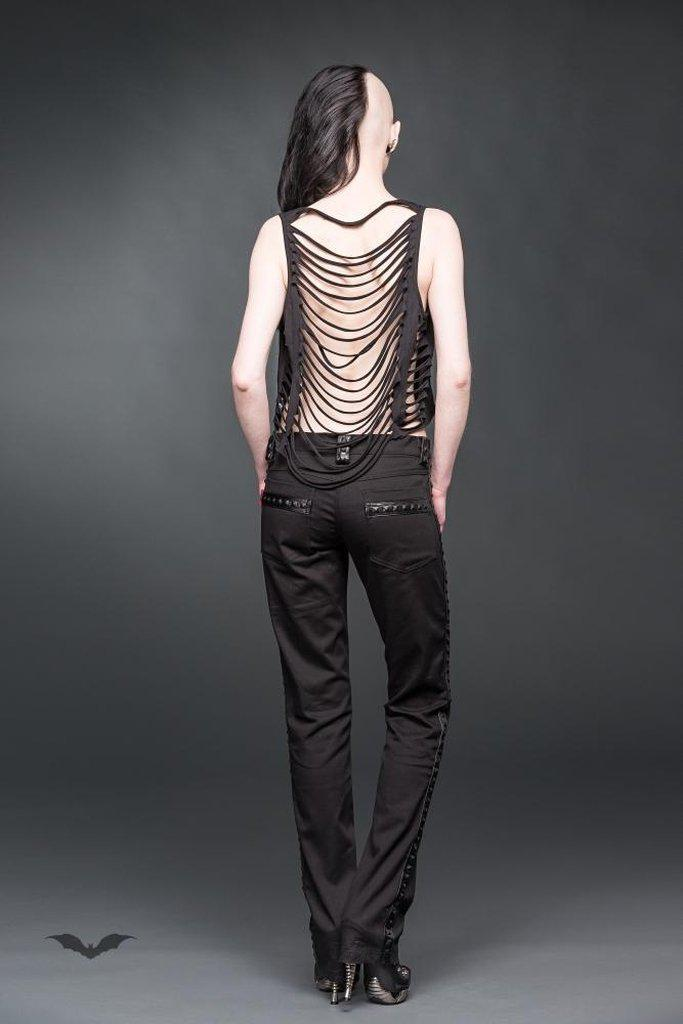 Trousers With Faux-Leather Applications-Queen of Darkness-Dark Fashion Clothing