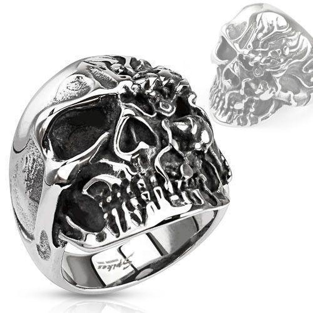 Two Face Steel Skull Ring-Spikes-Dark Fashion Clothing