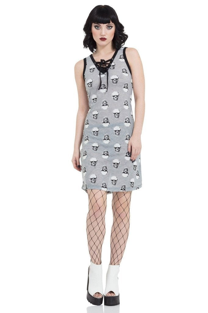 Two Tone Skull Dress - Jawbreaker-Dark Fashion Clothing