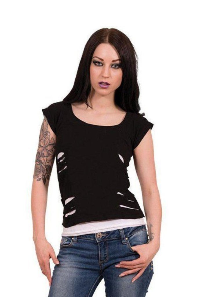 Urban Fashion - 2In1 White Ripped Top Black-Spiral-Dark Fashion Clothing