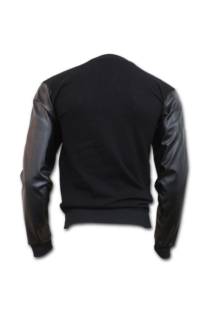 Urban Fashion - Bomber Jacket With Pu Leather Sleeves-Spiral-Dark Fashion Clothing