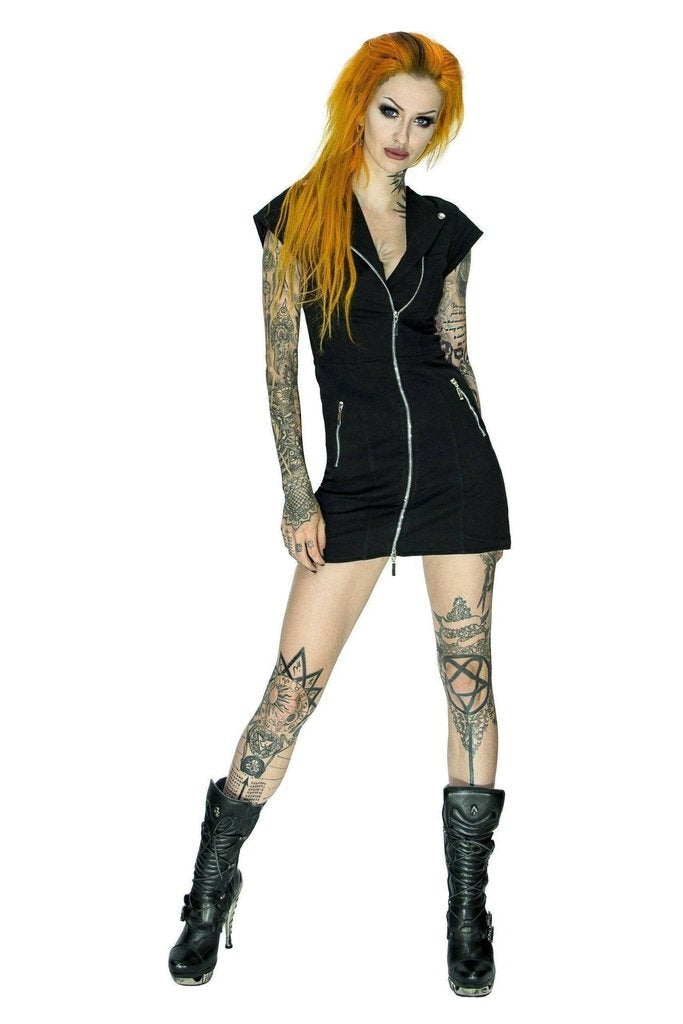 Velvet Lining Black Biker Mini Dress - Charlotte-Dr Faust-Dark Fashion Clothing