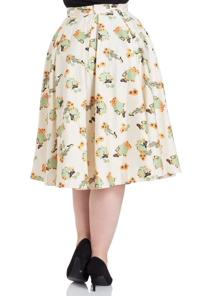 Verity Cactus Print Swing Skirt