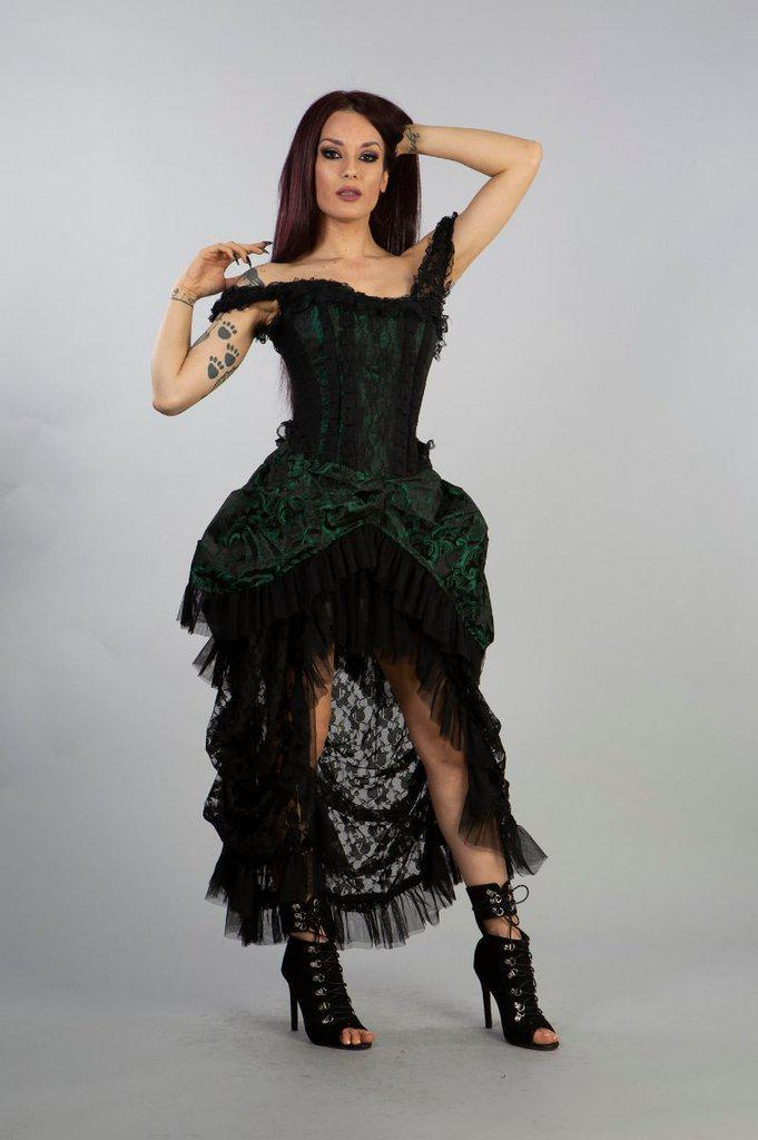 Versailles Corset Dress Green Scroll Brocade-Burleska-Dark Fashion Clothing