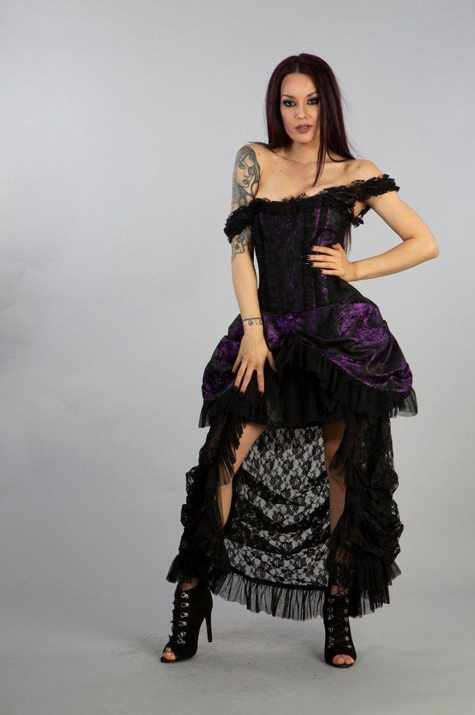 Versailles Corset Dress King Brocade With Black Lace-Burleska-Dark Fashion Clothing
