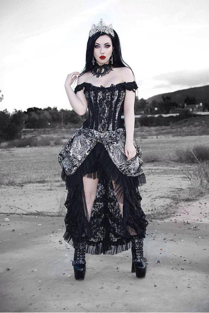 Versailles Corset Dress Silver King Brocade-Burleska-Dark Fashion Clothing
