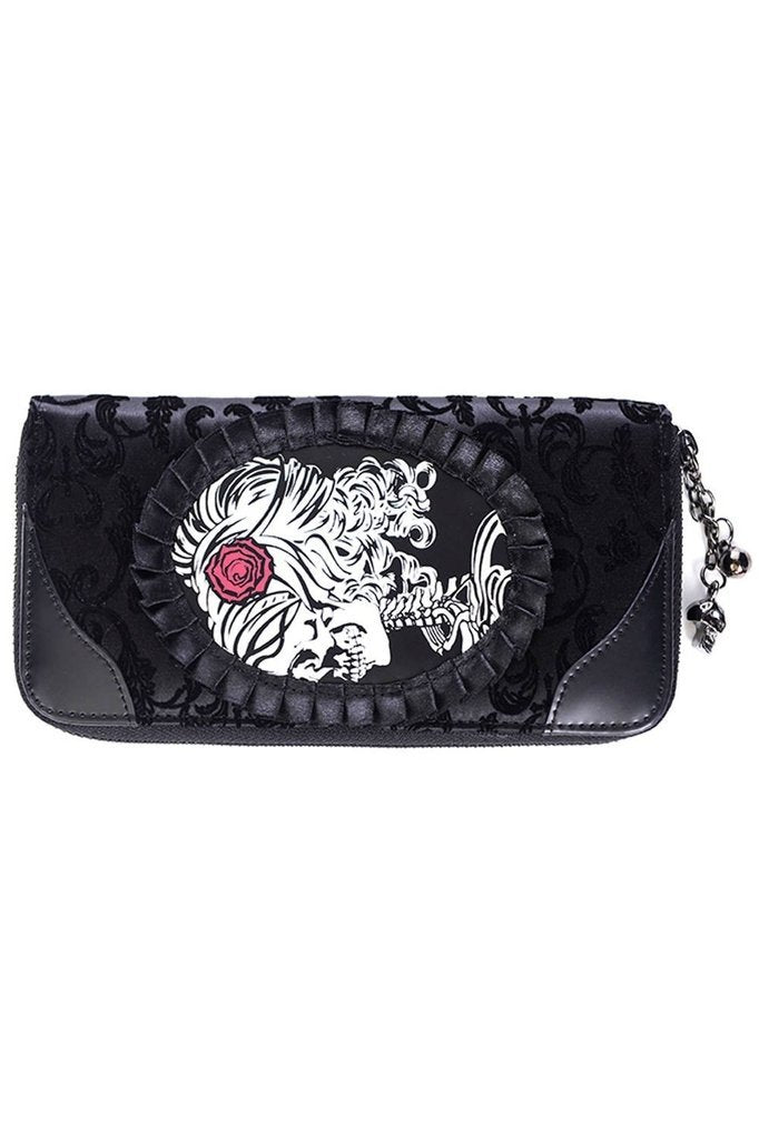 Vine Black Cameo Lady Lace Wallet-Banned-Dark Fashion Clothing