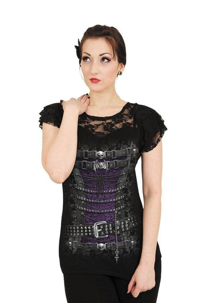 Waisted Corset - Lace Layered Cap Sleeve Top Black-Spiral-Dark Fashion Clothing
