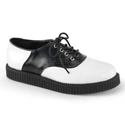 White-Black Leather Creepers - CREEPER-606 - Unisex-Demonia-Dark Fashion Clothing