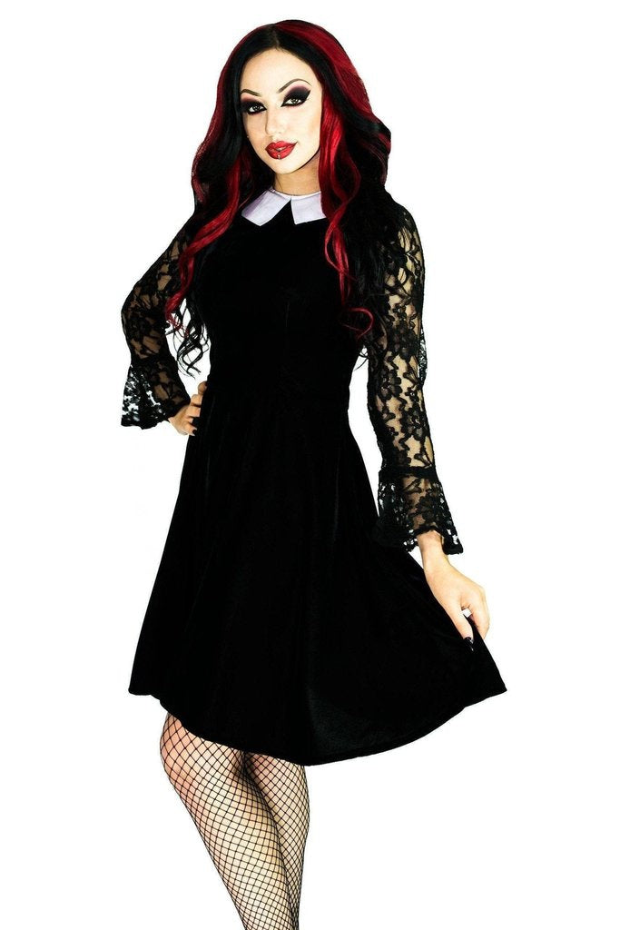 White Collar Long Sleeve Black Velvet Mini Dress - Ayla