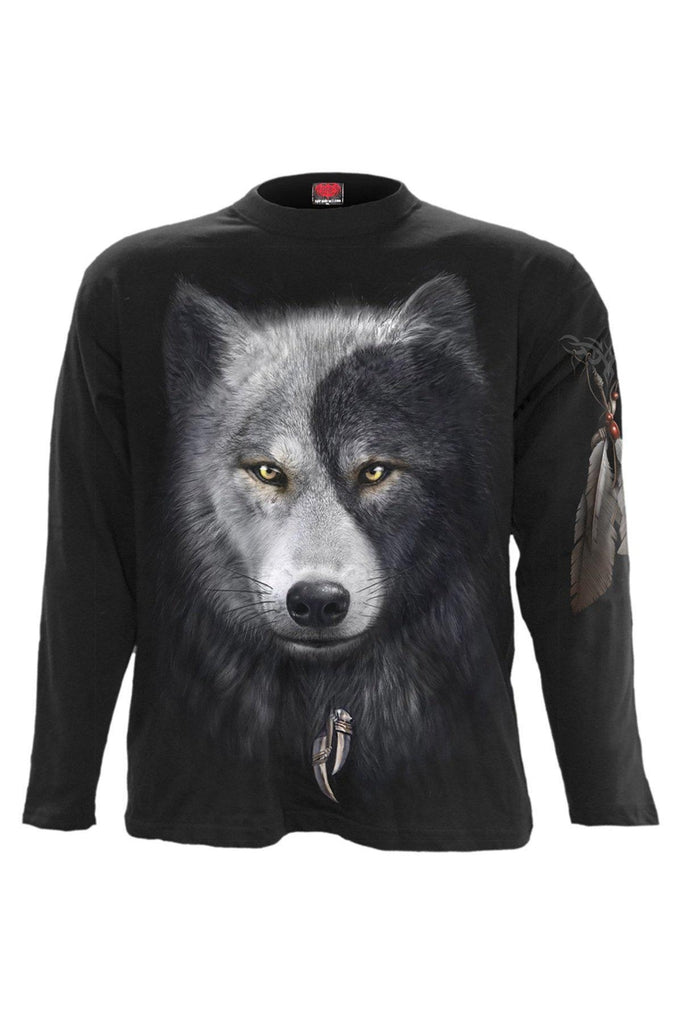 Wolf Chi - Longsleeve T-Shirt Black-Spiral-Dark Fashion Clothing