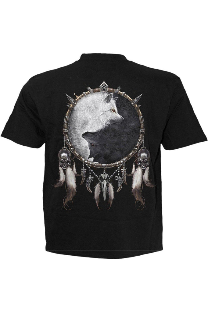Wolf Chi - T-Shirt Black-Spiral-Dark Fashion Clothing