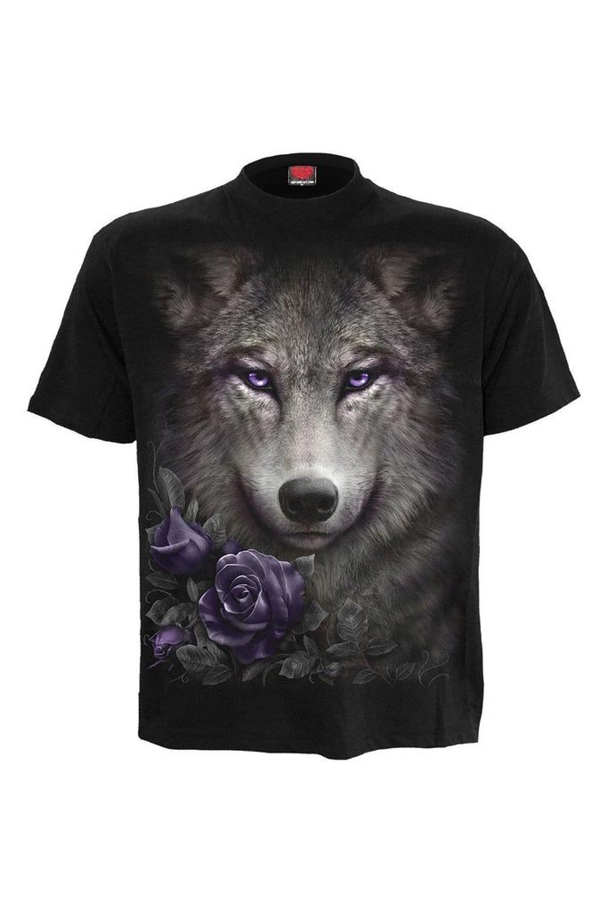 Wolf Roses - Front Print T-Shirt Black-Spiral-Dark Fashion Clothing