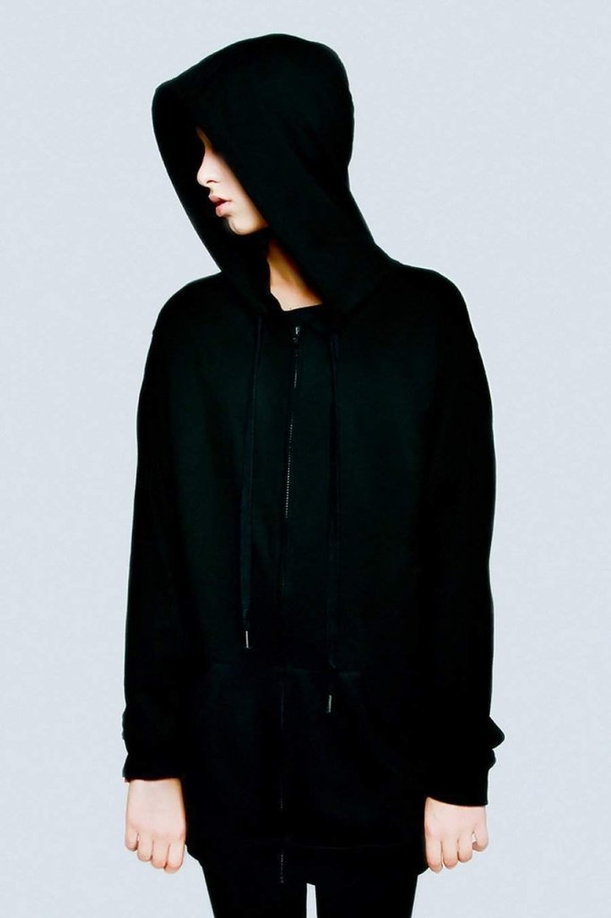 Zip Up Plain Hoodie - Unisex-Long Clothing-Dark Fashion Clothing