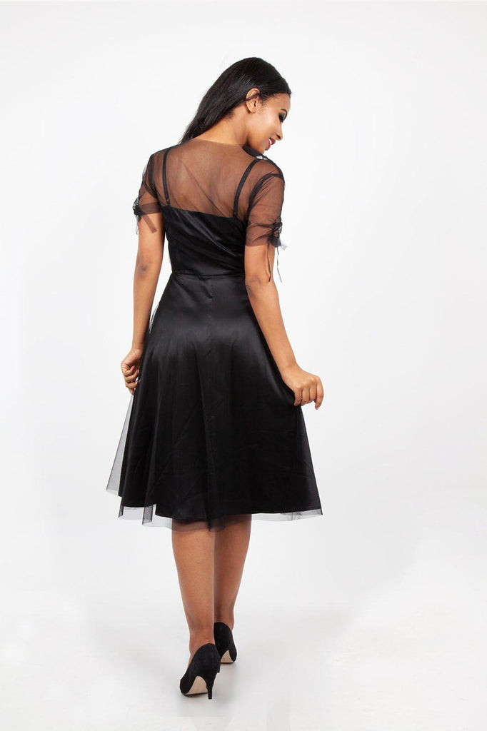 Zoe Black Dress with Floral Emboidery