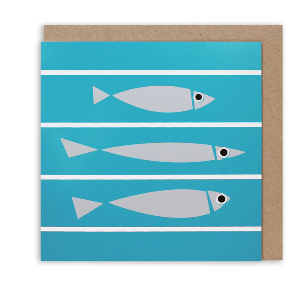 FISHY LINE-UP & STRIPES NAUTICAL GREETING CARD