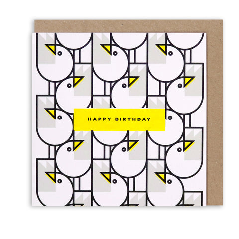 GREAT GULLS PATTERN HAPPY BIRTHDAY GREETING CARD