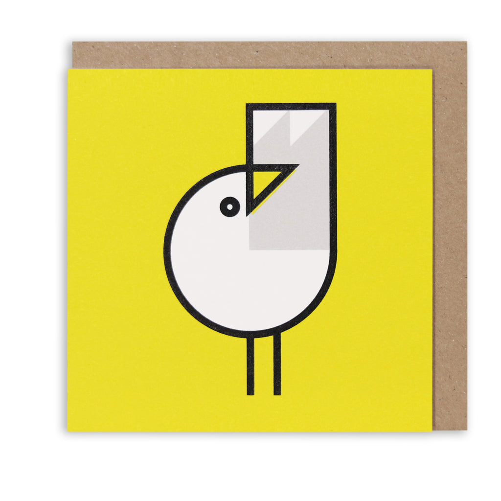 GREAT GULL YELLOW NAUTICAL GREETING CARD