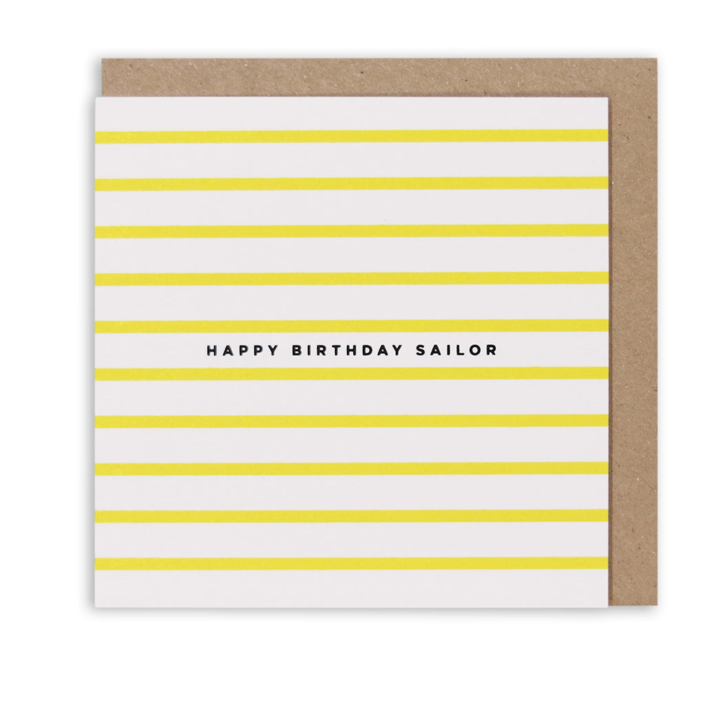 NAUTICAL STRIPES HAPPY BIRTHDAY SAILOR GREETING CARD