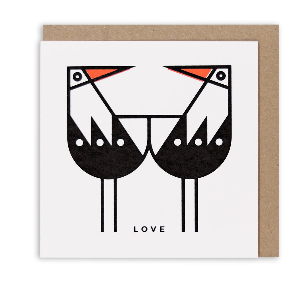OYSTERCATCHER LOVE NAUTICAL GREETING CARD