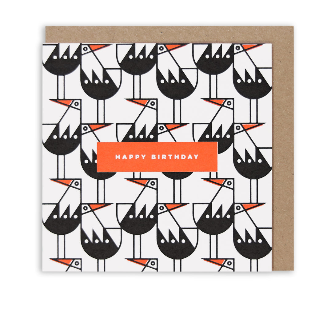 BERT & BUOY GREETING CARD OYSTERCATCHER HAPPY BIRTHDAY