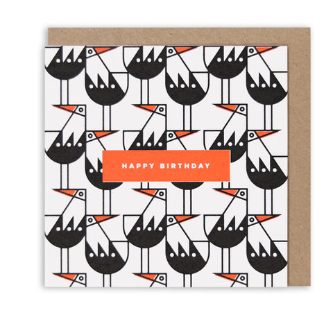 OYSTERCATCHER PATTERN HAPPY BIRTHDAY