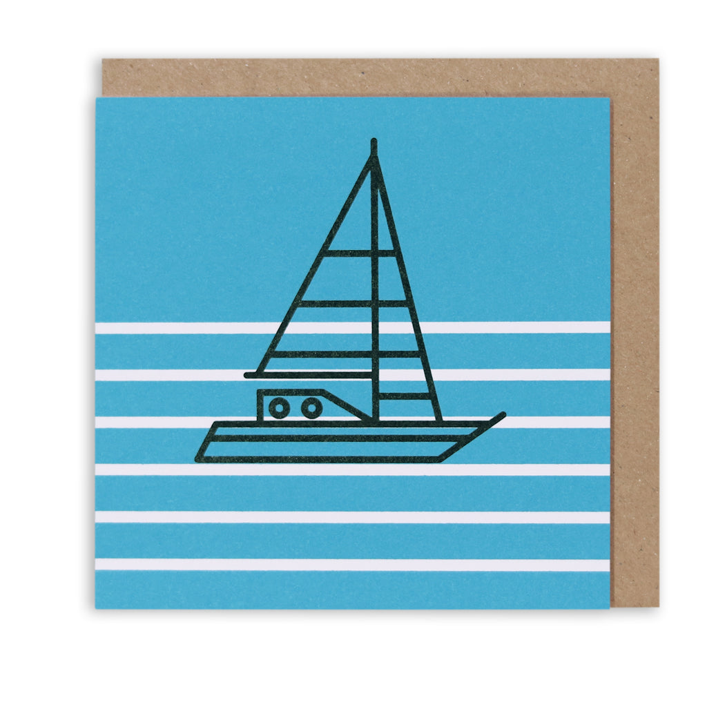 SHIP AHOY BLUE NAUTICAL GREETING CARD