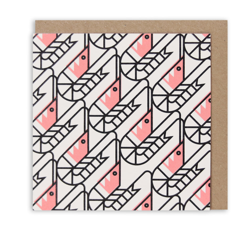 SO SHRIMP PATTERN NAUTICAL GREETING CARD
