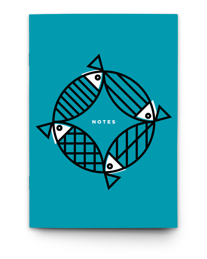 MIGHTY MACKEREL BLUE NAUTICAL NOTEBOOK