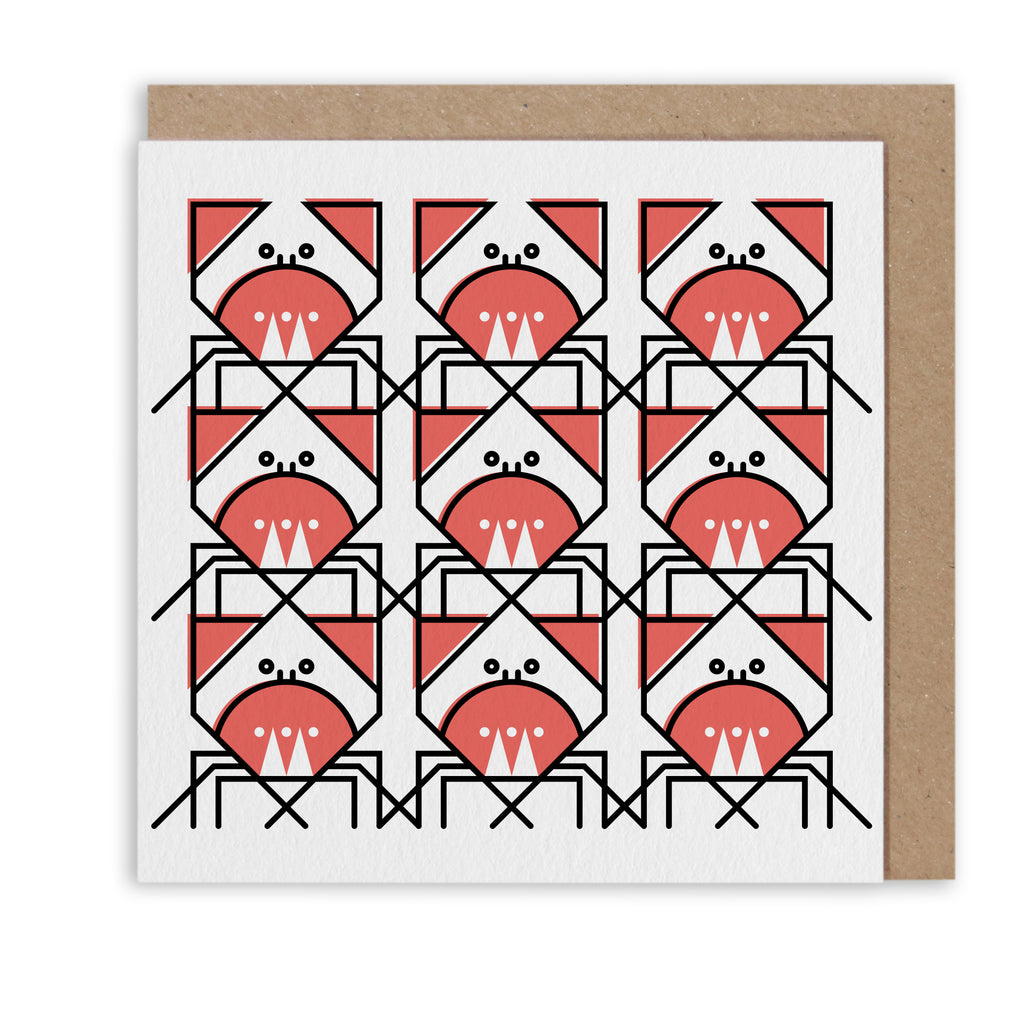 CUNNING CRAB PATTERN NAUTICAL GREETING CARD