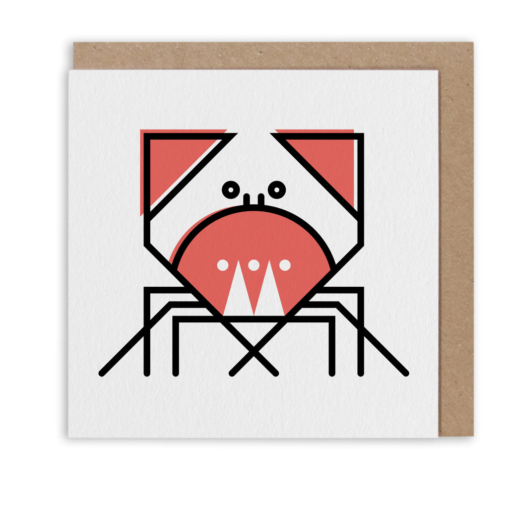 CUNNING CRAB NAUTICAL GREETING CARD